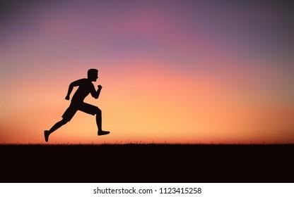 Silhouette man sprint running on hill under sunset sky background