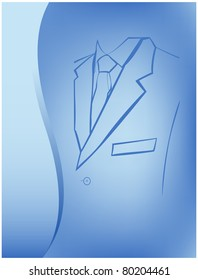Silhouette of a man suit and tie is located on an abstract blue background