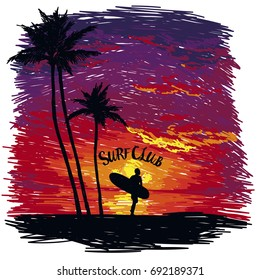Silhouette of the man with a surfboard at tropical sunset, banner for surf club, sketch style vector illustration