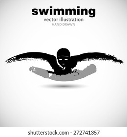 Silhouette of man swimmer butterfly stroke. In the style of painting, ink and brush on paper texture. Designed for sporting events, competitions, tournaments, vector illustrations.