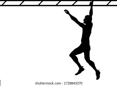 Silhouette of a man swinging across a monkey bar. Vector illustration.
