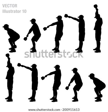 Swinging bells silhouette