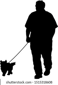 Silhouette of a man taking his dog for a walk. Vector illustration.
