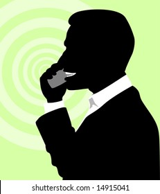 silhouette of a man talking