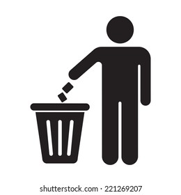 Silhouette of a man, throwing garbage in a bin, isolated on white background.