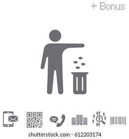 Silhouette of a man, throwing garbage in a bin