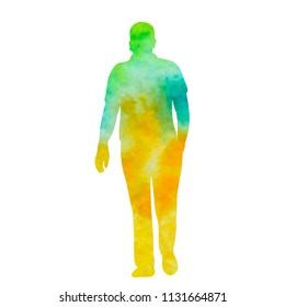 silhouette man is walking