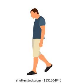 silhouette man walking, flat style