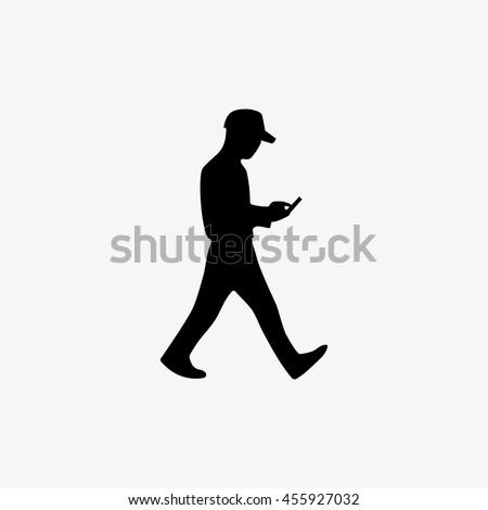 Silhouette Man Walking Mobile Phone Hand Stock Vektorgrafik