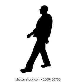silhouette man is walking on a white background