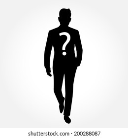 Silhouette of a man walking with question mark - suspect concept