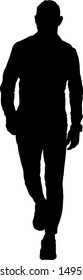 Silhouette of a man walking. Vector illustration.