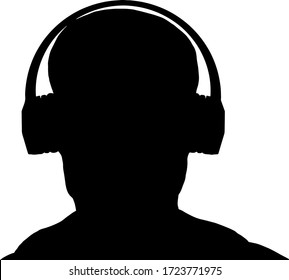 Silhouette of a man wearing a music headphone. Vector illustration.