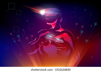 Silhouette man wearing Virtual reality device (VR) playing game,  move motion in abstract digital 3d world, vector illustration