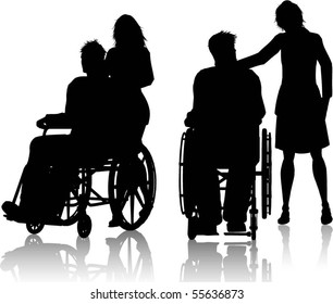 Silhouette of man in wheelchair with woman