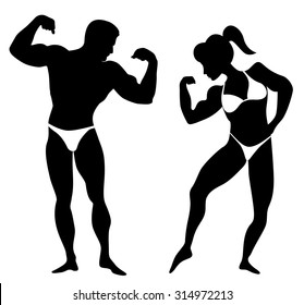 Silhouette of a man and a woman body builders showing their muscles isolated