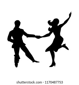 Silhouette of man and woman dancing a swing, lindy hop, social dances. The black and white image isolated on a white background. Vector illustration.