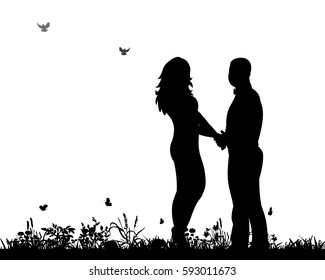 silhouette man and woman holding hands