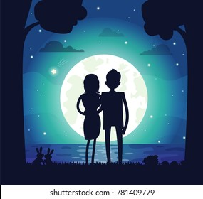 Silhouette of man and woman in love, couple cuddling, shining full moon and stars with clouds, tree and river water, isolated on vector illustration