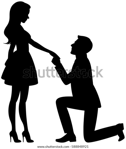 Silhouette of man and woman in love on a white background vector illustration