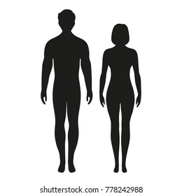 silhouette of a man and a woman on a white background