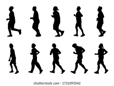 Silhouette man and women running on white background, Lifestyle people exercise vector set, Shadow marathon human illustration