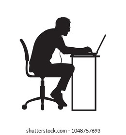 Silhouette of man working at computer. Programmer sitting stooping at laptop. Hand drawn vector illustration isolated on white background.