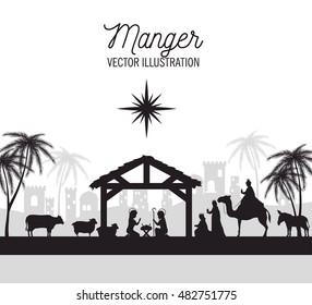 silhouette manger merry christmas isolated design
