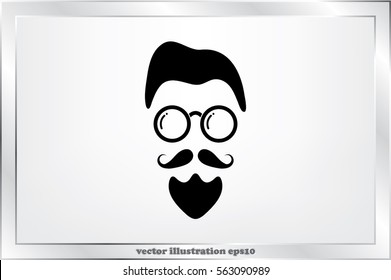 silhouette of the man's face with a beard and glasses, vector illustration