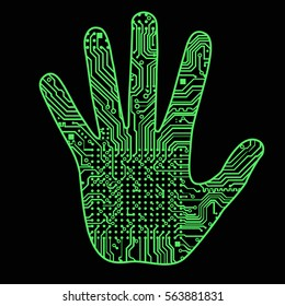 Silhouette of a man's hand with a high-tech computer circuit board pattern It can illustrate scientific ideas related to artificial intelligence, artificial neural networks,  development of technology