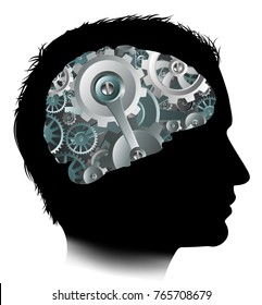 Silhouette of a mans head with a brain made up of gears or cogs workings machine parts