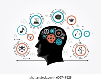 Silhouette of a man's head with gears in the shape of a brain surrounded by icons. Infographic template. Modern flat design concept for web banners, web sites. Information media concept.