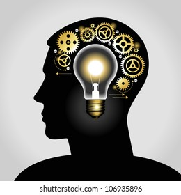 silhouette of a man's head with a glowing light bulb, and gears. the concept of making big idea. File is saved in AI10 EPS