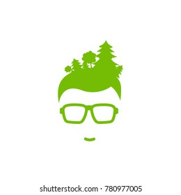 Silhouette of man's head in hipster glasses with forest in hair . Green avatar with trees. Ecology and nature love. Eco friendly. Go green concept. Isolated on white. Vector flat illustration.