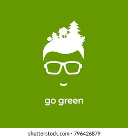 Silhouette of man's head in hipster glasses with forest in hair isolated on green. avatar with trees and text. Ecology logo. Eco friendly. Go green concept. Vector flat illustration. Earth day card