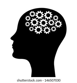silhouette of a man's head with a picture of the mechanism. vector