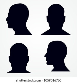 Silhouette of a man's head. Side and front view. Vector set. Isolated on white. Vector design.