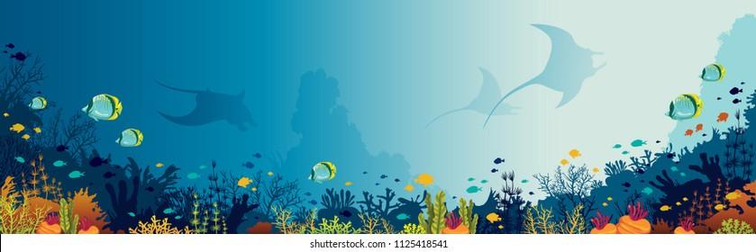 Silhouette von Mantas, Korallenriff und Fischen auf blauem Hintergrund. Unterwasserleben Panoramabild mit Vektorgrafik.