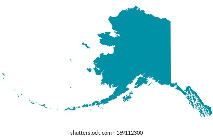 Silhouette map of the Alaska