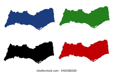 silhouette of a map of the Algarve in southern Portugal with a white background