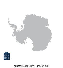 Silhouette map of the Antarctica continent. on a white background.