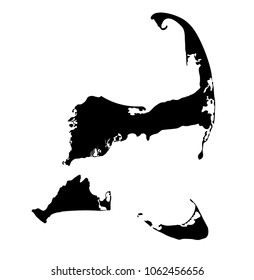 Silhouette map of Cape Cod, Martha's Vineyard, and Nantucket islands