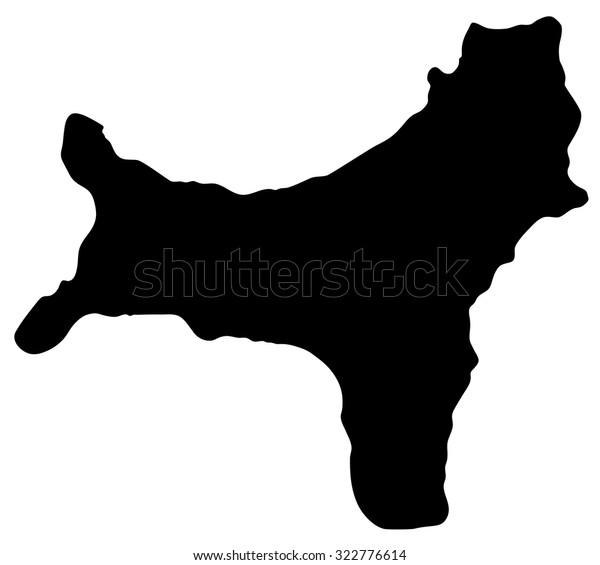 Silhouette Map Christmas Island Australia Stock Vector Royalty Free