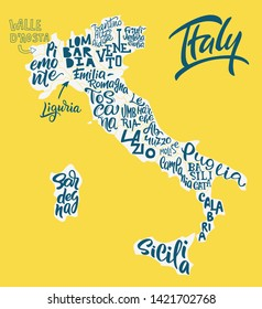Silhouette of the map of Italy with hand-written names of regions, provinces - Sicilia, Lazio, Veneto, etc. Handwritten lettering on the background of Italy map. Unique vector typography poster
