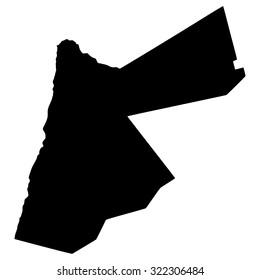 Silhouette map of Jordan, Asia