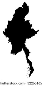 Silhouette map of Myanmar, Asia