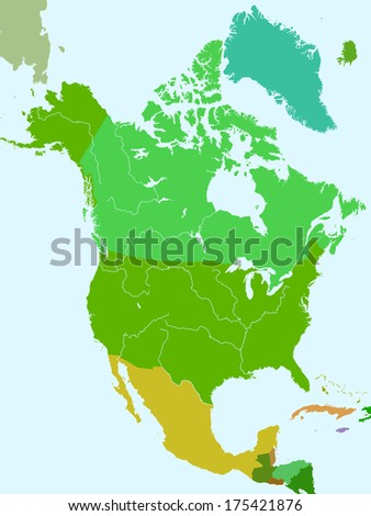 Silhouette Map North America Countries Major Stock Vector Royalty