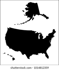 A silhouette map of The United States of America