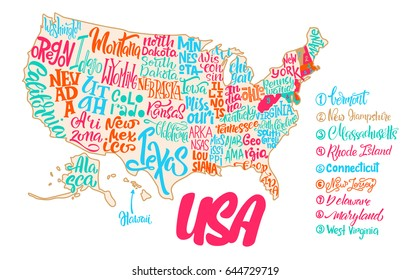 Silhouette Map Usa Handwritten Names States Stock Vector Royalty