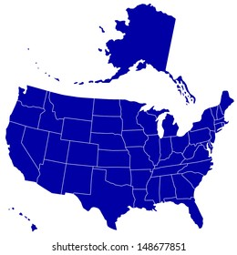 Silhouette map of the USA. Source of map:  http://www.lib.utexas.edu/maps/united_states/n.america.jpg